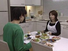 Japanese housekeeper does the dishes then works his cock - Amateur