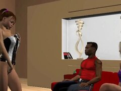 Chica de dibujos animados 3D caliente chupando una polla negra dura. Boca de riego a babe morena 3D dibujos animados chupando y tirando un ébano pernos polla dura roca