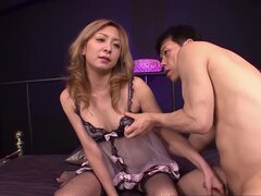 Sweet Japanese babe gets him to play with her hairy pussy