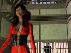 Chica asiática sexy dibujos animados 3D come hacia fuera y follada