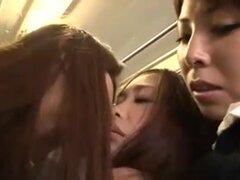 Tanteo de Lesbos cutie en autobús (tres),