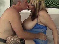Buxom Bella in Bbw Buxom Bella Rides A Fat Cock. - JeffsModels, A grey-haired dude licks this sexy plumper's ass and then sticks his big dick right up her wet pussy until he cum.