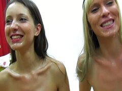 2 chicas, bukkake, intercambio y tragar semen