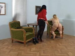 Chica gordita, gordita recibe una vara