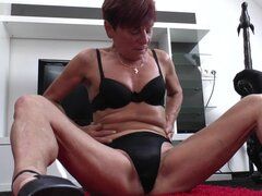 European granny in high heels rubbing her old hairy pussy - Jaclyn
