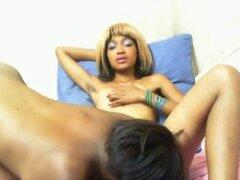 Chicas negras calientes disfrutan de sexo lésbico. Dos sexy y cachondas negro lesbianas putas con buenas tetas dedos y lamen sus coños calientes delante de su cámara,