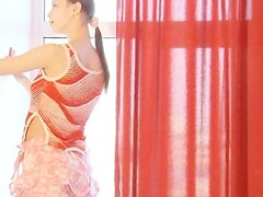 Dance and stripping in pink stocking