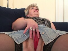 Horny old lady swallows two cocks at once. Granny swallows two cocks