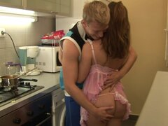 Curvy girlfriend in pink lingerie fucked in her kitchen