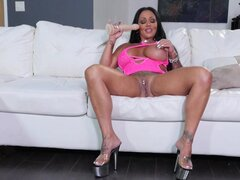 Ebony candy with nipple piercings Ashton Blake toying her coochie - Ashton Blake