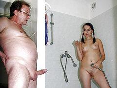 Cachondo hombre mayor se folla a una increible morocha adolescente en la ducha