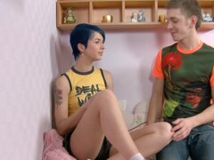 Blue haired teen punk with a sexy arm tattoo gets laid - Ebba