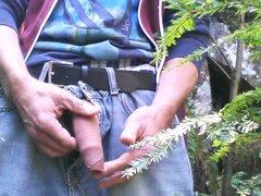 Foreskin play in the wood #3 (+cumshot)