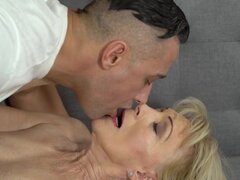 Szuzanne & Mugur in Naughty Szuzanne - 21Sextreme, Hot looking granny Szuzanne can't wait to have her wet pussy pounded. The old naughty beauty gets down on her young partner and starts to suck his hard dick! She then hops on that cock and rides it smoothly.