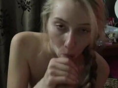 20yr jenny swallowing cum out of a big cock