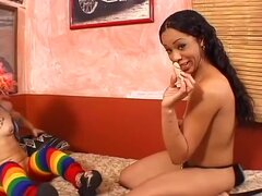 Horny pornstars Bridget the Midget and Lucy Pearl in amazing midgets, black and ebony adult movie,