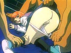Esta preciosa jovencita inocente de anime hentai es intensamente follada por dos enormes vergas duras