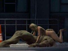 3D rubia se la follan por el increíble Hulk